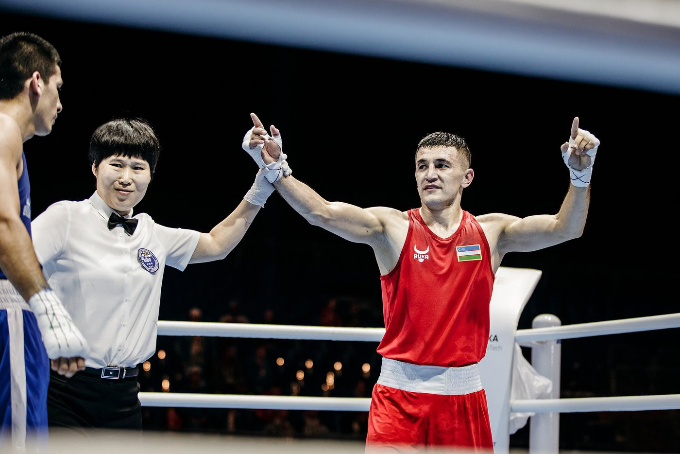 Bobo-Usmon Baturov of Uzbekistan got past Brian Arregui of Argentina ©Yekaterinburg 2019