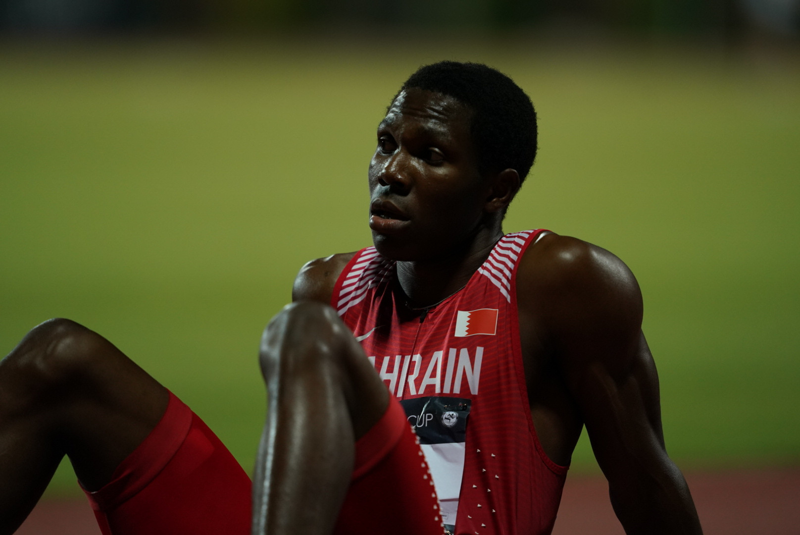 Bahrain's Musa Isah gets his breath back after claiming silver in the men's 400m ©GSA/ Mine Kasapoglu