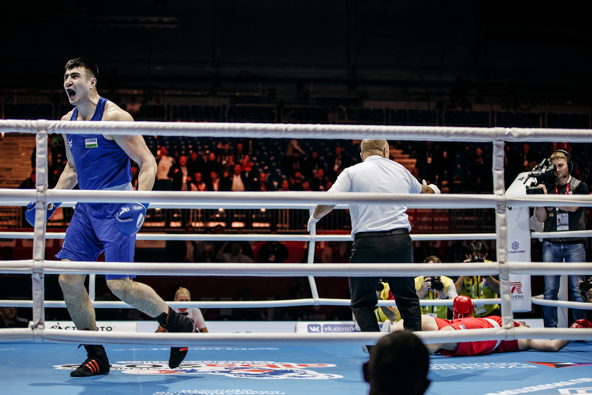 The Uzbek boxer delivered a knockout blow to Torrez to claim the victory ©Yekaterinburg 2019