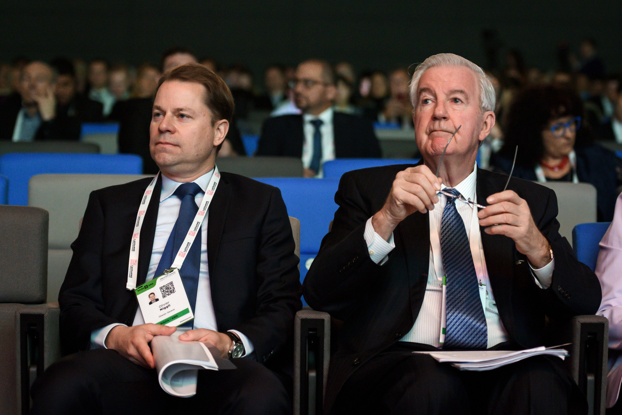 WADA President Sir Craig Reedie, right, and director general Olivier Niggli say 2018 will be remembered as a breakthrough year in the Russian scandal ©Getty Images