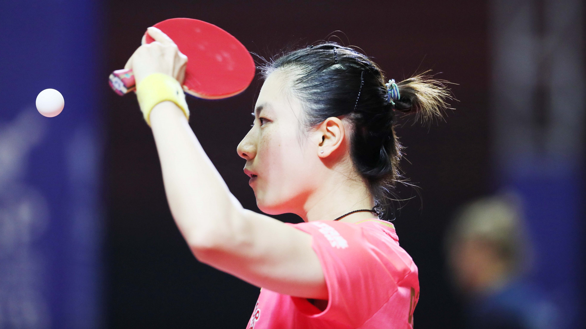 North Korea's Cha Hyo Sim pushes Ding Ning at Asian Table Tennis Championships