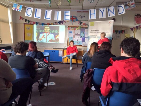 British Paralympic champion visits school to inspire youngsters to take up sport