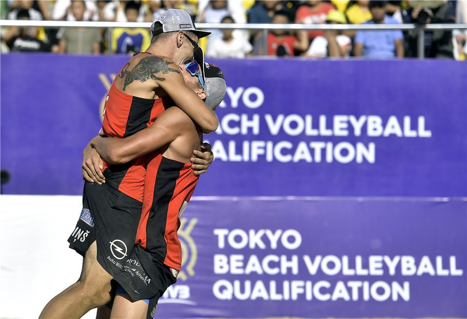 Latvia's Martin Plavins and Edgars Tocs also secured their Olympic spot by winning their qualifying final ©FIVB