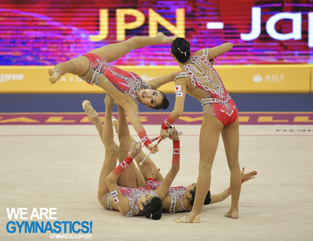 Japan took silver in the Group all-around final at the Rhythmic Gymnastics World Championships in Baku, just half a point behind defending champions Russia ©FIG