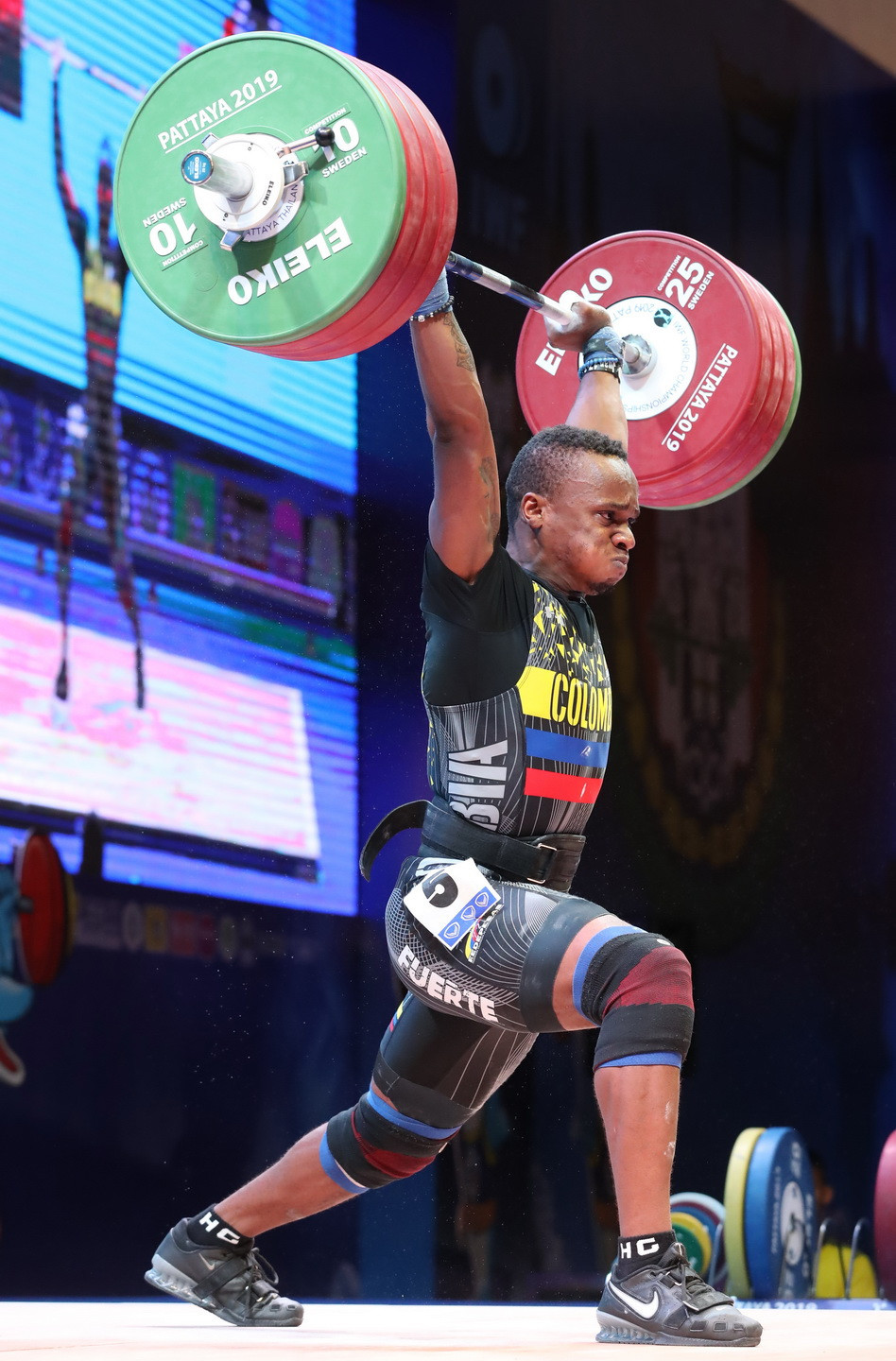 The overall bronze medallist was Colombia's Brayan Santiago Rodallegas Carvajal ©IWF