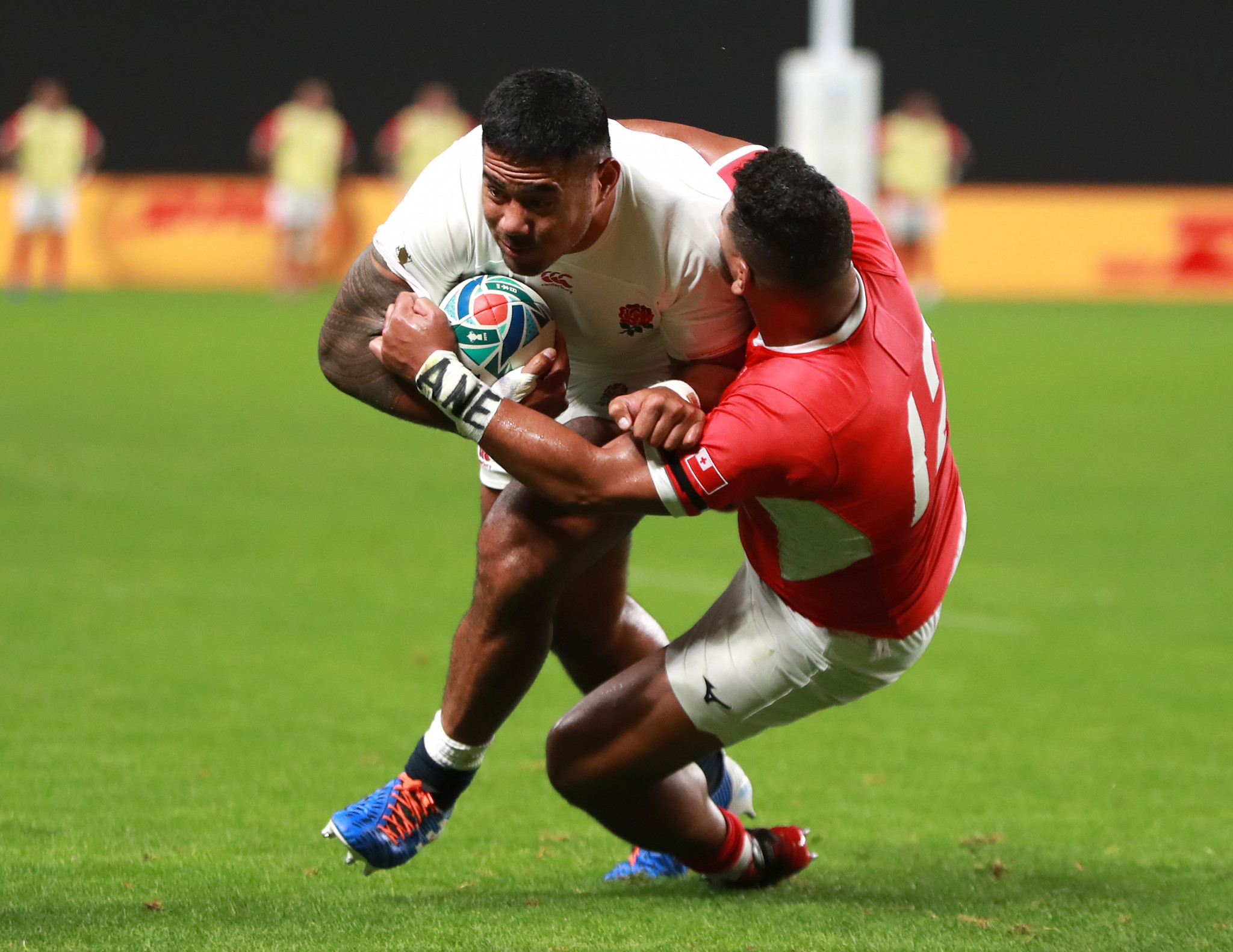 Manu Tuilagi scored a pair of first half tries as England beat Tonga ©Getty Images