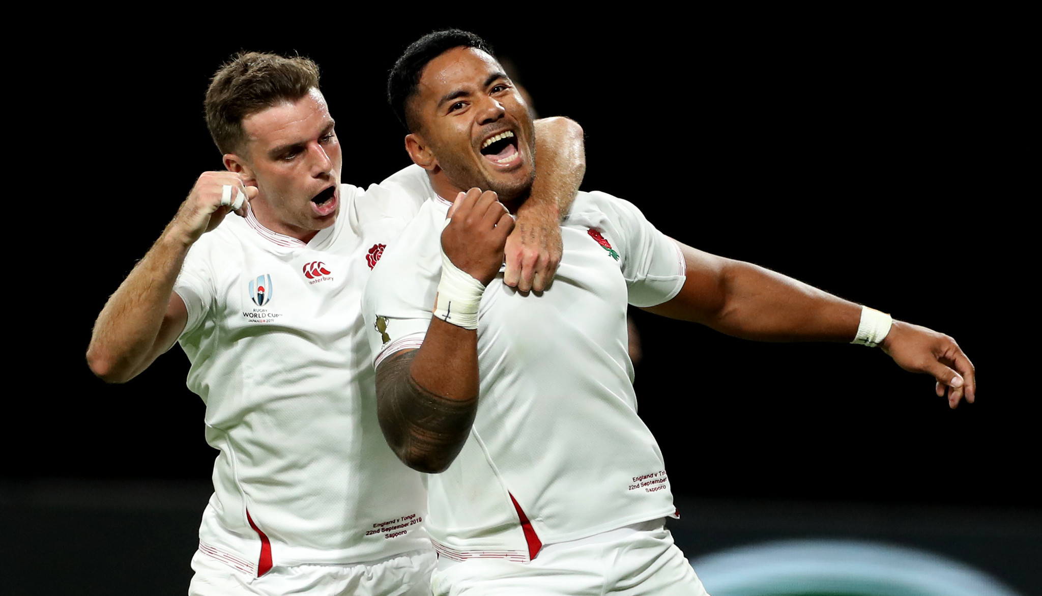 Manu Tuilagi, right, scored a pair of first half tries for England as they beat Tonga ©Getty Images