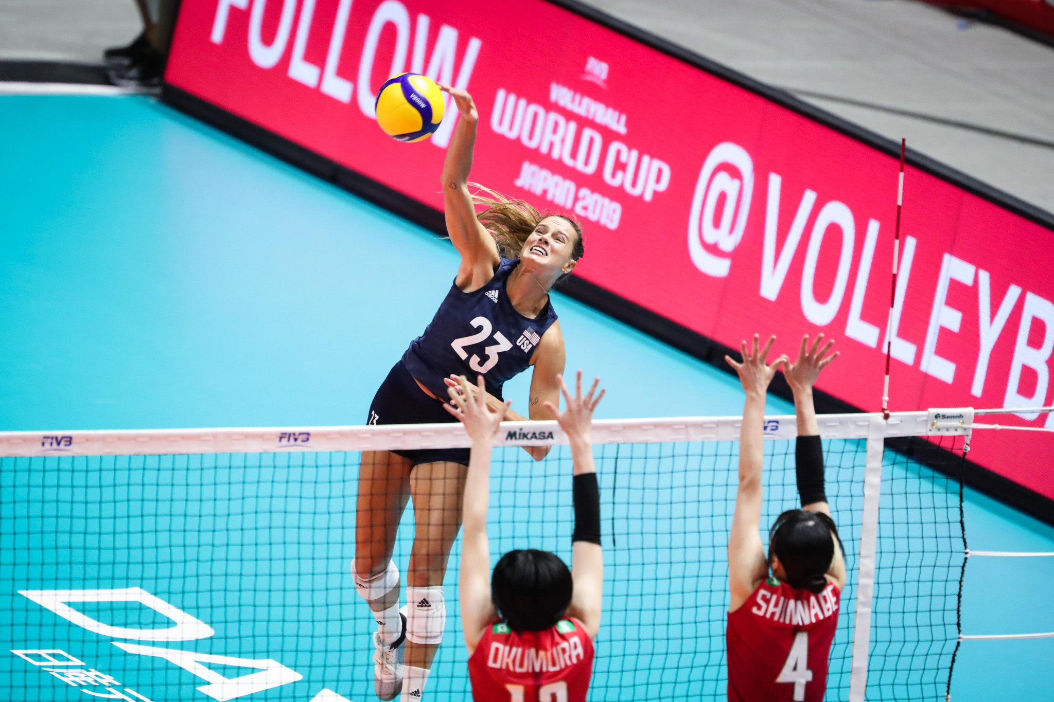 The United States also earned a sixth win in six ahead of facing the Chinese tomorrow ©Twitter/FIVB