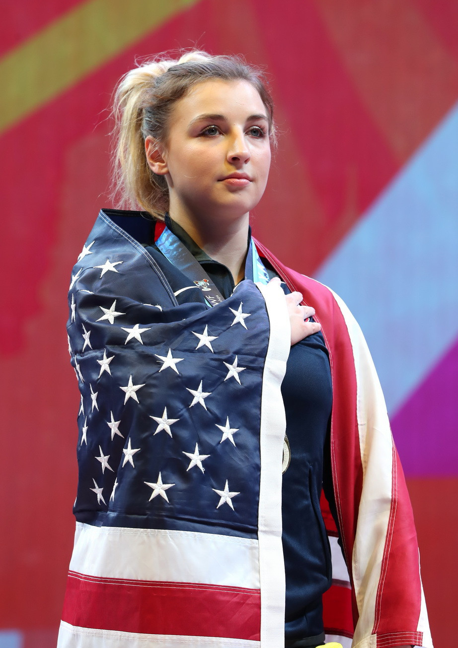 Katherine Nye led the way on a historic day for the United States at the IWF World Championships ©IWF