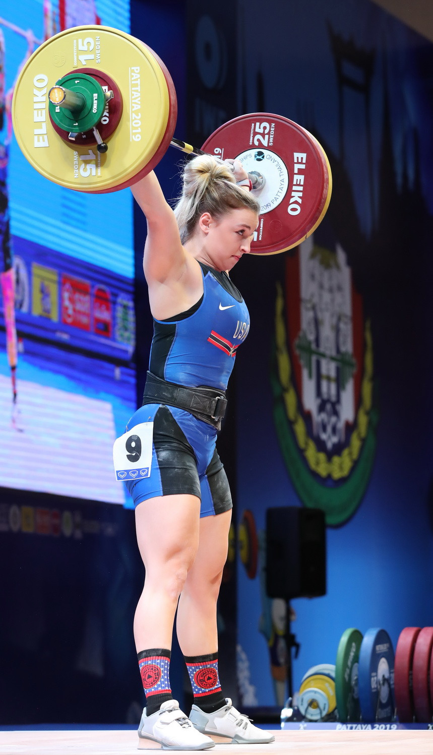 The 20-year-old is the youngest American woman to become a world champion in weightlifting ©IWF