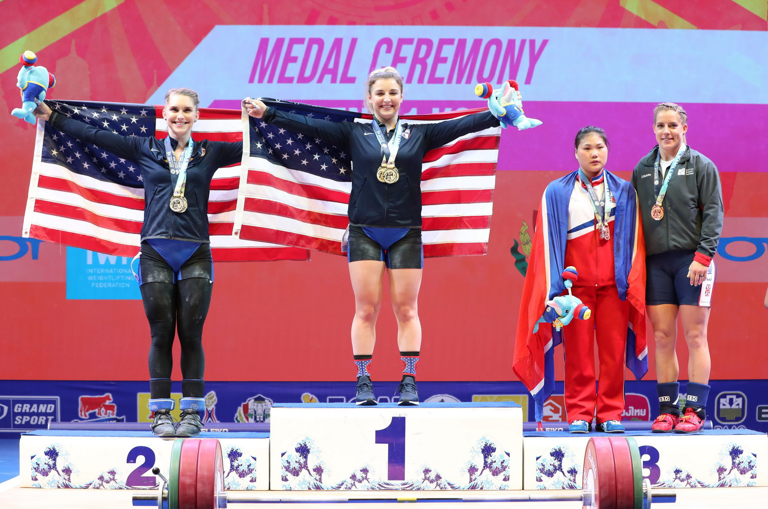 The United States' Katherine Nye held off compatriot Mattie Rogers to secure a clean sweep of the women's 71 kilograms gold medals on day six of the International Weightlifting Federation World Championships in Thai city Pattaya ©IWF