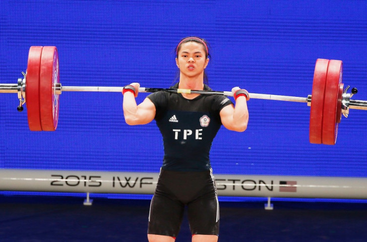 Chinese Taipei's Shu-Ching Hsu totalled 221kg to take the women's 53kg title on a body weight tiebreaker