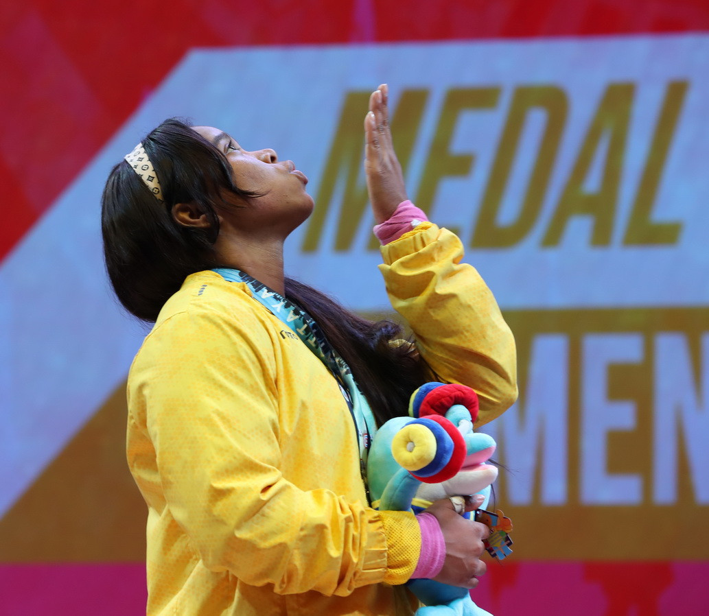 Colombia's Leidy Yessenia Solis Arboleda stood atop the women's 81 kilograms podium on day eight of the International Weightlifting Federation World Championships in Thai city Pattaya ©IWF