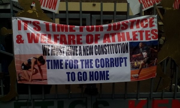 Kenyan athletes storm headquarters in protest at alleged corruption