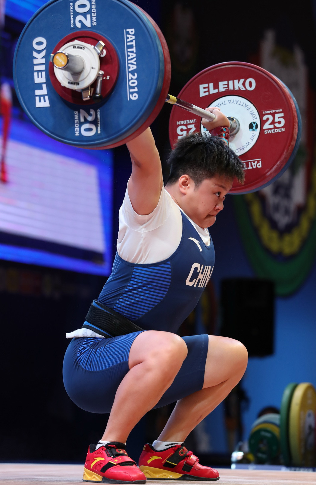 Wang had jumped up two bodyweight categories from last year's triumph in the 76kg competition ©IWF