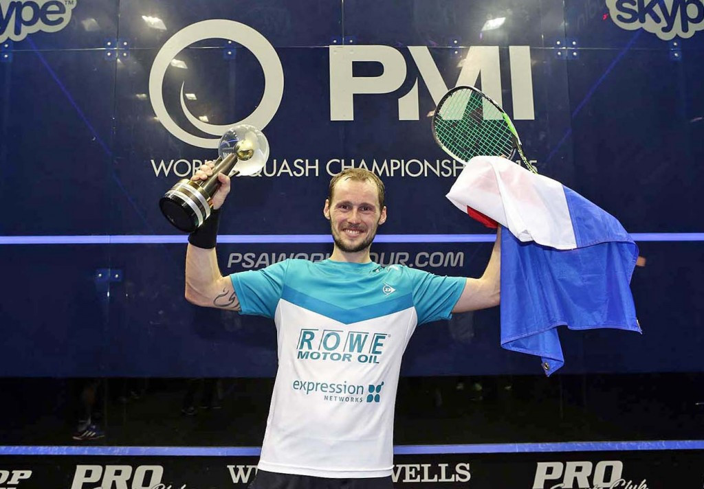 Frenchman Gregory Gaultier claimed his maiden PSA Men's World Championship title with victory over Omar Mosaad of Egypt ©squashpics
