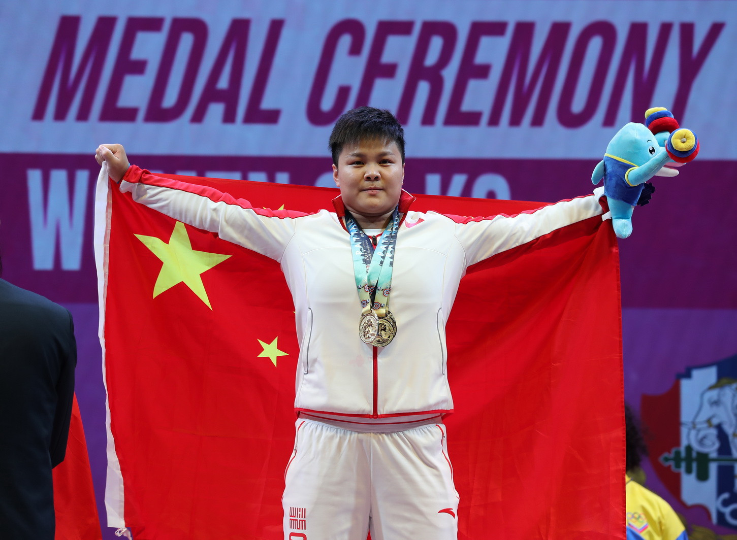 China's Wang Zhouyu claimed a hat-trick of gold medals in the women's 87kg event ©IWF