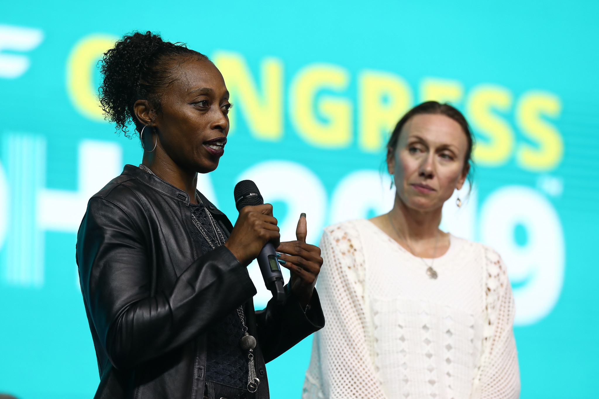 America's three-time Olympic and five-time world champion Gail Devers took part in a special convention held to address key issues in athletics ©Getty Images