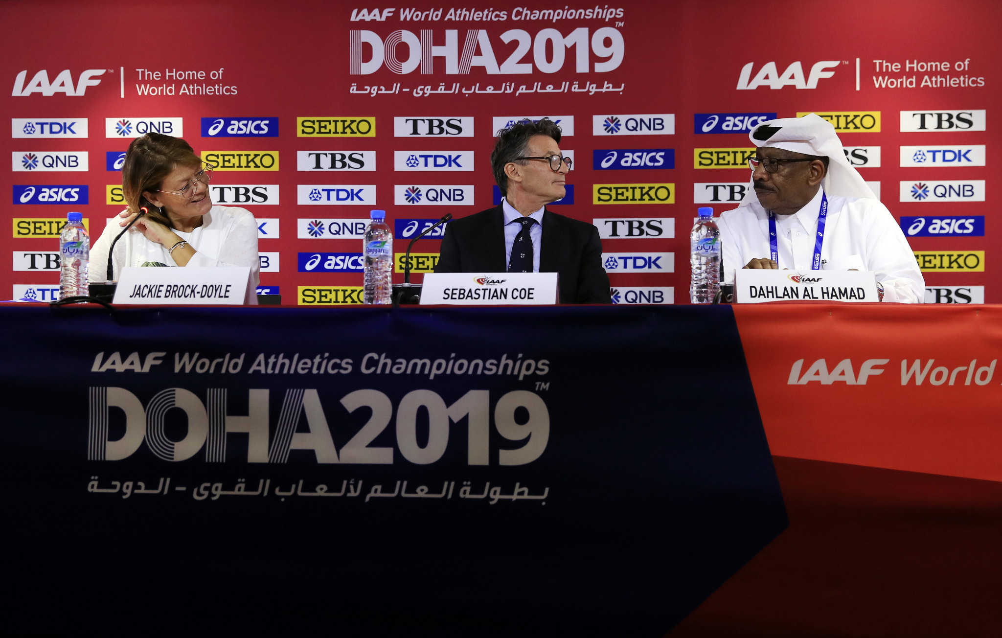 IAAF President Sebastian Coe and his Asian Athletics Association counterpart, Qatar's Dahlan Al Hamad, held a final press conference to discuss preparations ©Getty Images
