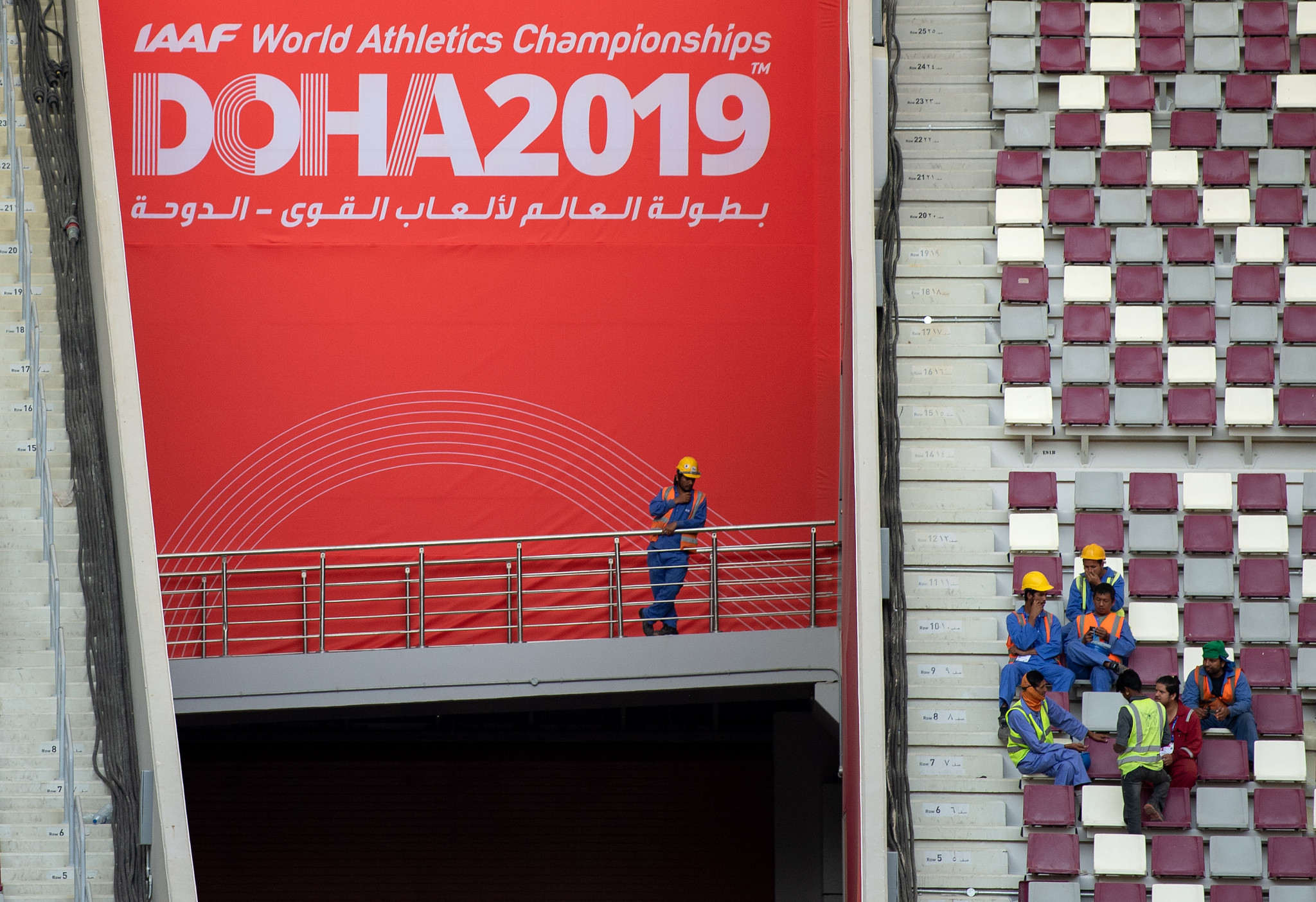 Migrant construction workers have been employed in helping get the Khalfia International Stadium ready for the IAAF World Championships which open in Doha today ©Getty Images