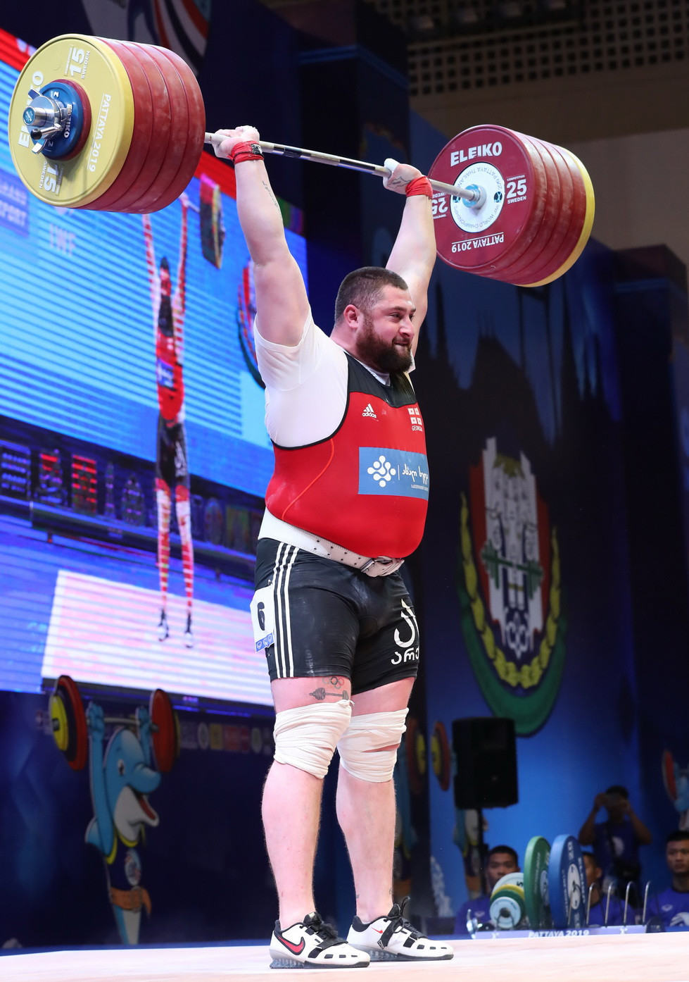 Talakhadze broke his own world records in the snatch, clean and jerk and total ©IWF