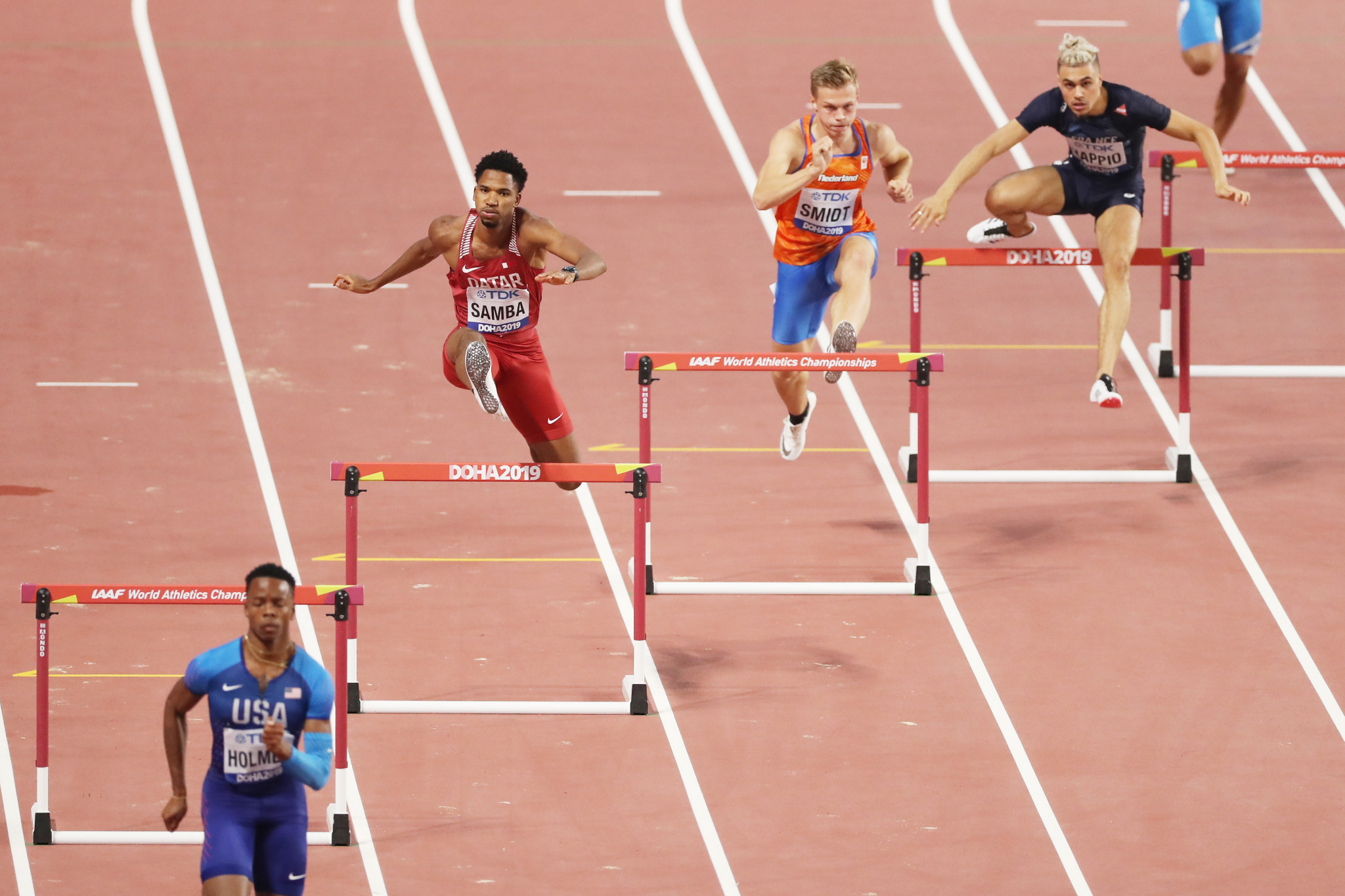 Qatar's Abderrahman Samba was in good form in the opening round of the 400m hurdles on his return to the event following an injury lay-off as he clocked the fastest time ©Getty Images
