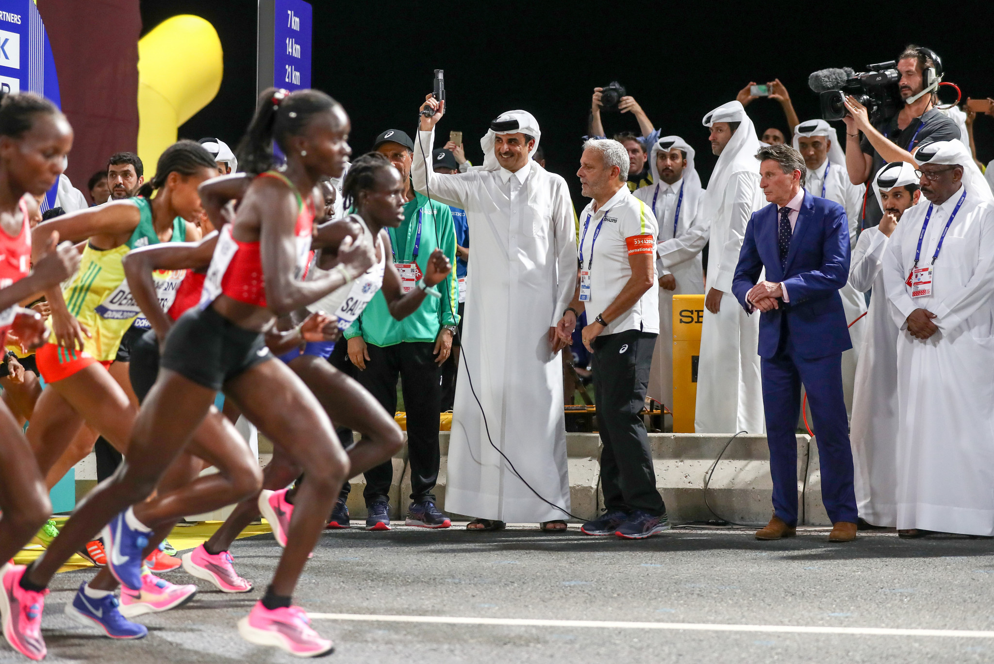 The marathon started at midnight with the runners set on their way by the Emir of Qatar in a race that the winner did not cross the finishing line until after 2.30am ©Getty Images