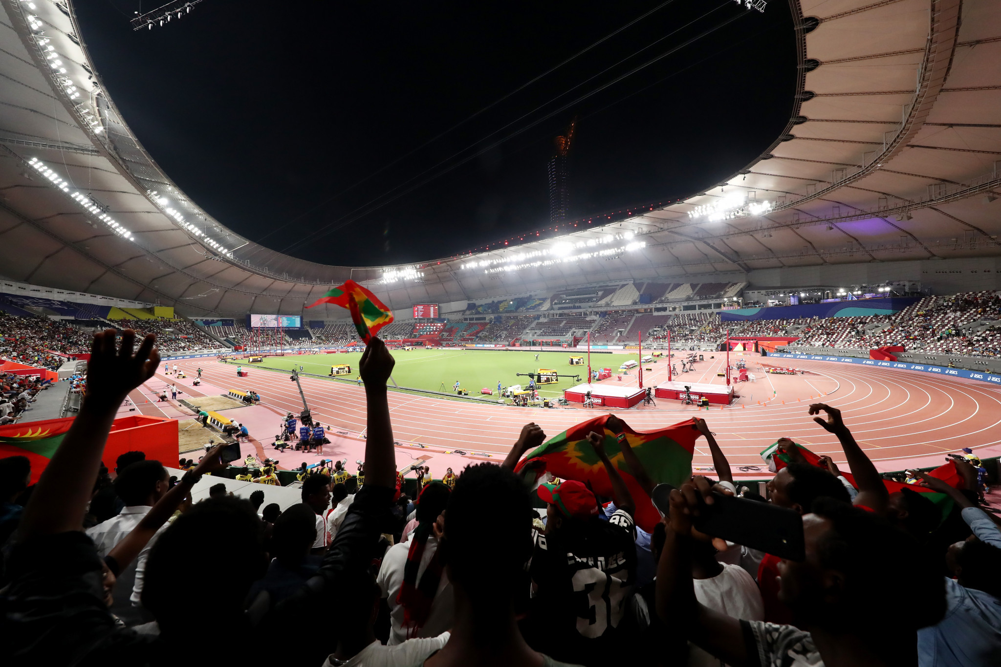 There was a disappointingly small crowd in the Khalifa International Stadium for the opening night but African fans did their best to make some noise ©Getty Images