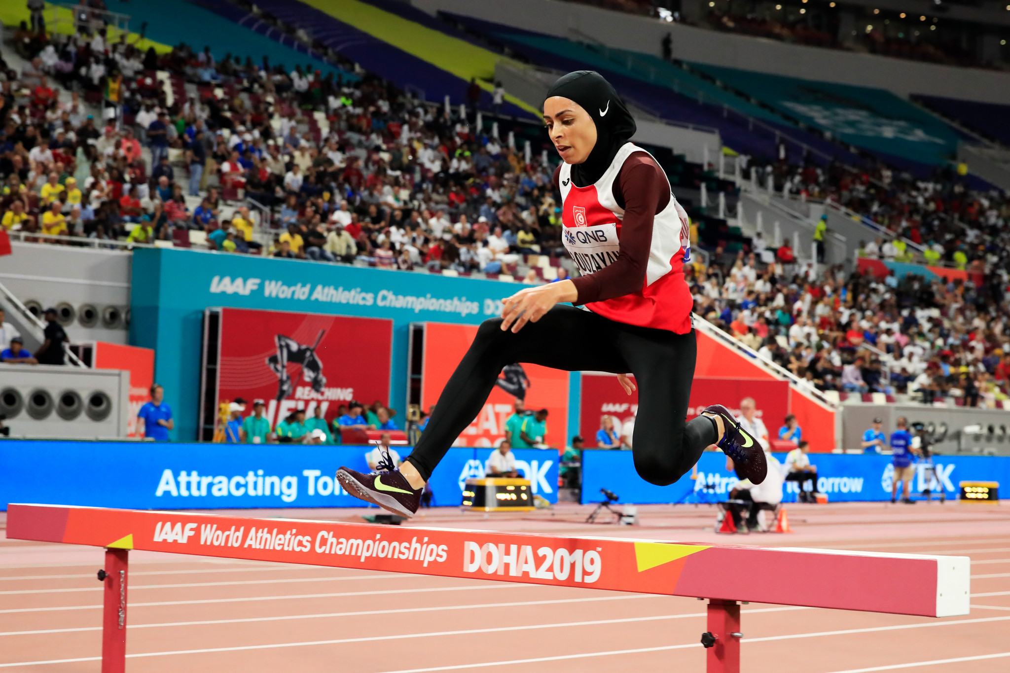 Tunisia's Marwa Bouzayani was among competitors in the women's heats of the 3,000m steeplechase ©Getty Images