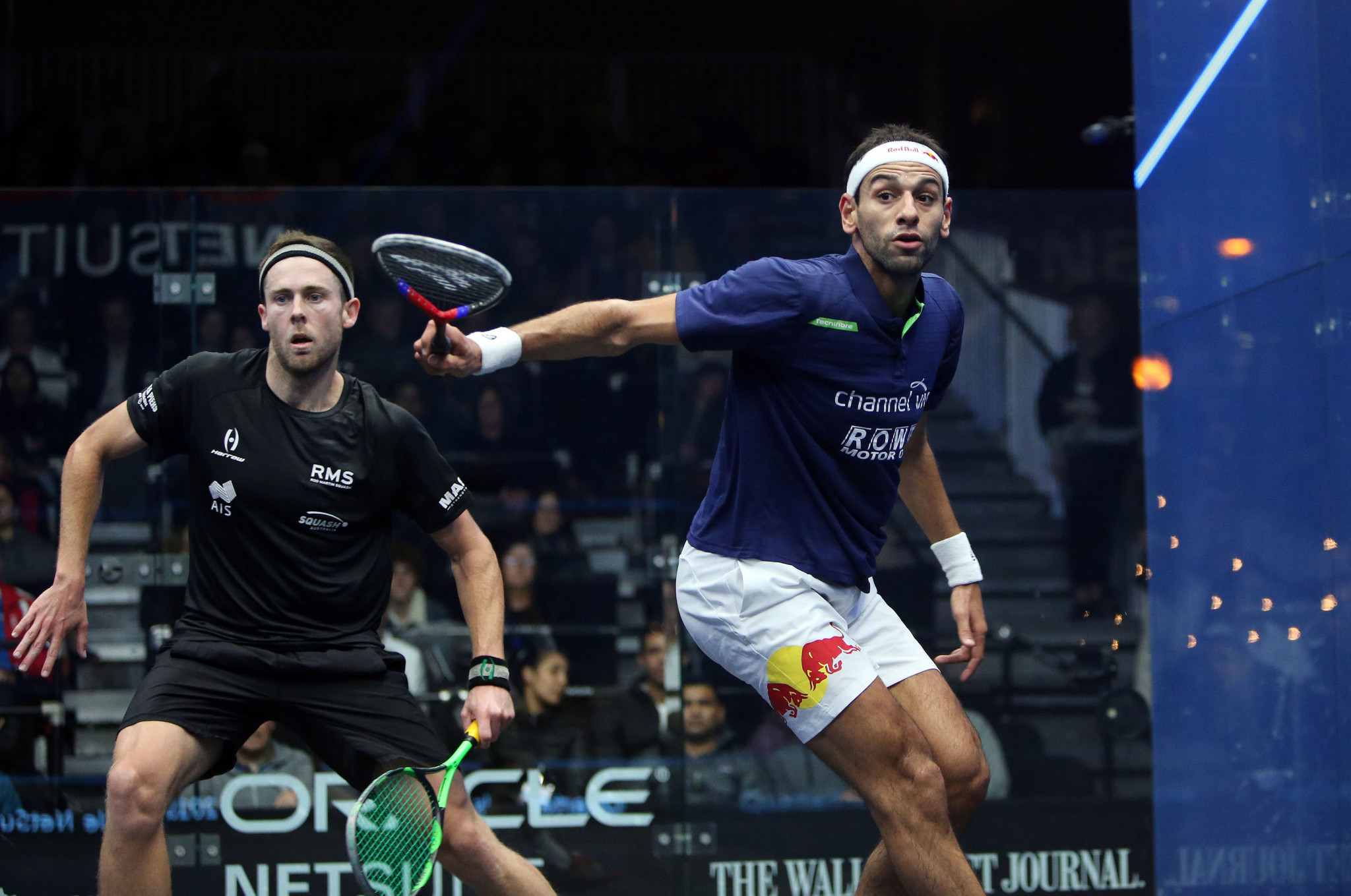 Mohamed ElShorbagy is through to the last four after defeating Australia's Ryan Cuskelly in straight games ©PSA