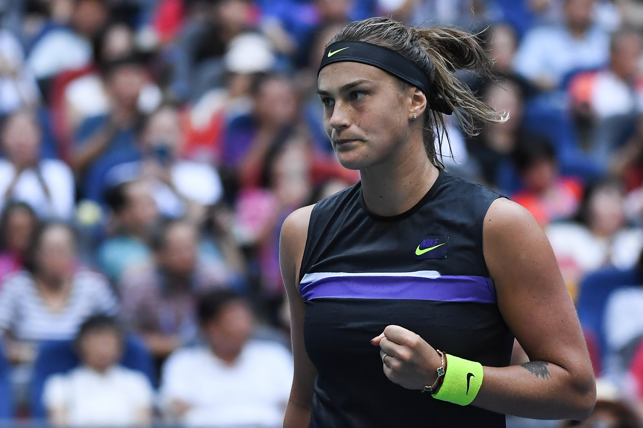 Sabalenka defends Wuhan Open title with three-set win over Riske