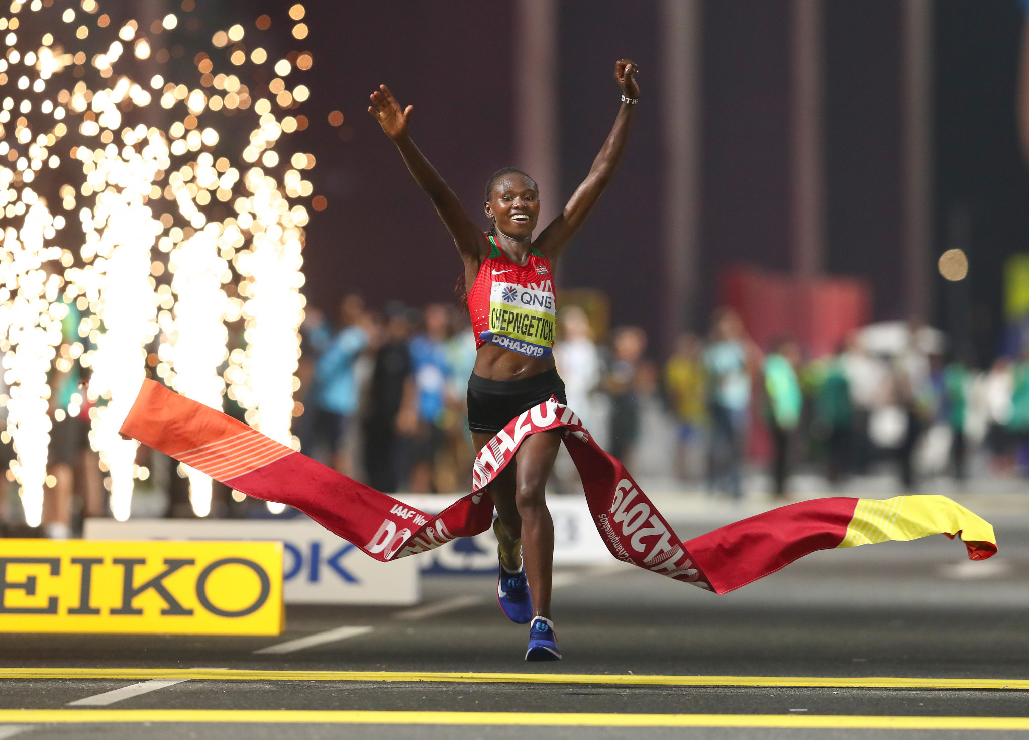 Gold for Chepngetich in Doha as 28 drop out of women's marathon due to stifling heat