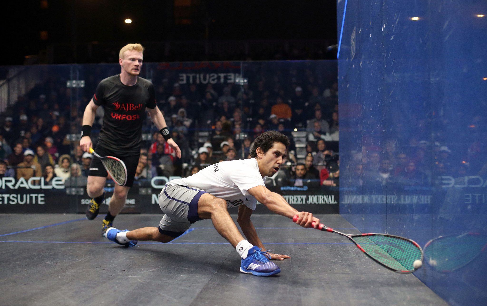 Egypt's world number three Tarek Momen came from behind in his last eight clash with Wales' Joel Makin at the PSA Oracle NetSuite Open in San Francisco ©PSA