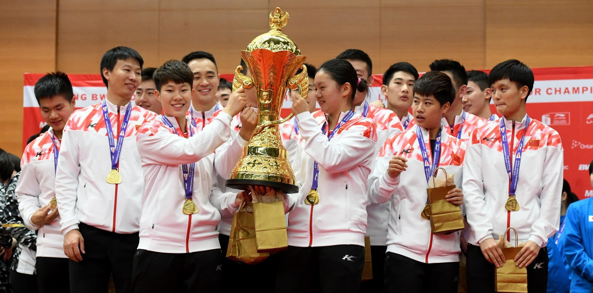 China won their fifth team title in a row in Canada last year ©BWF