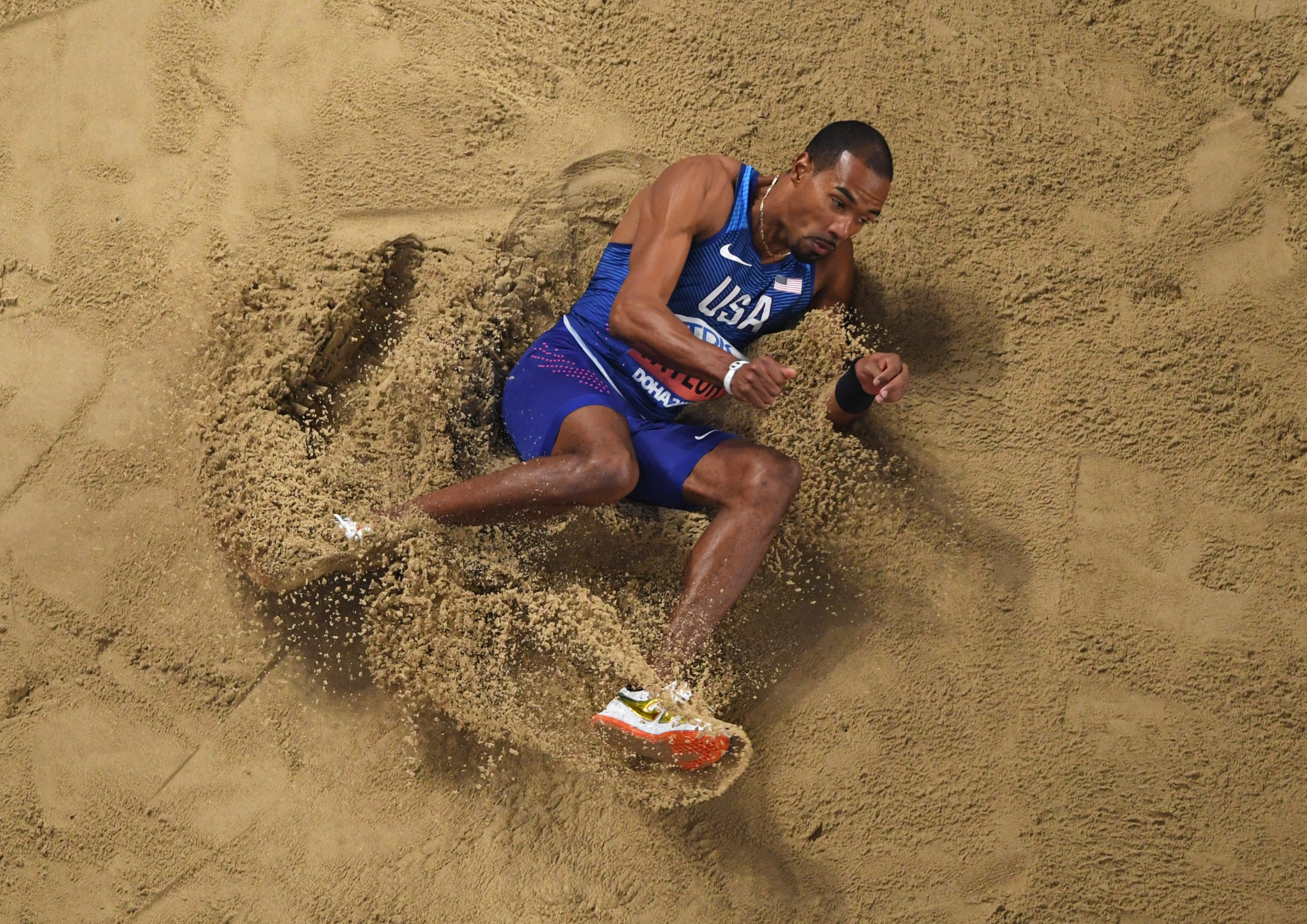 World triple jump champion Christian Taylor was one of three Team USA Awards winners for September ©Getty Images