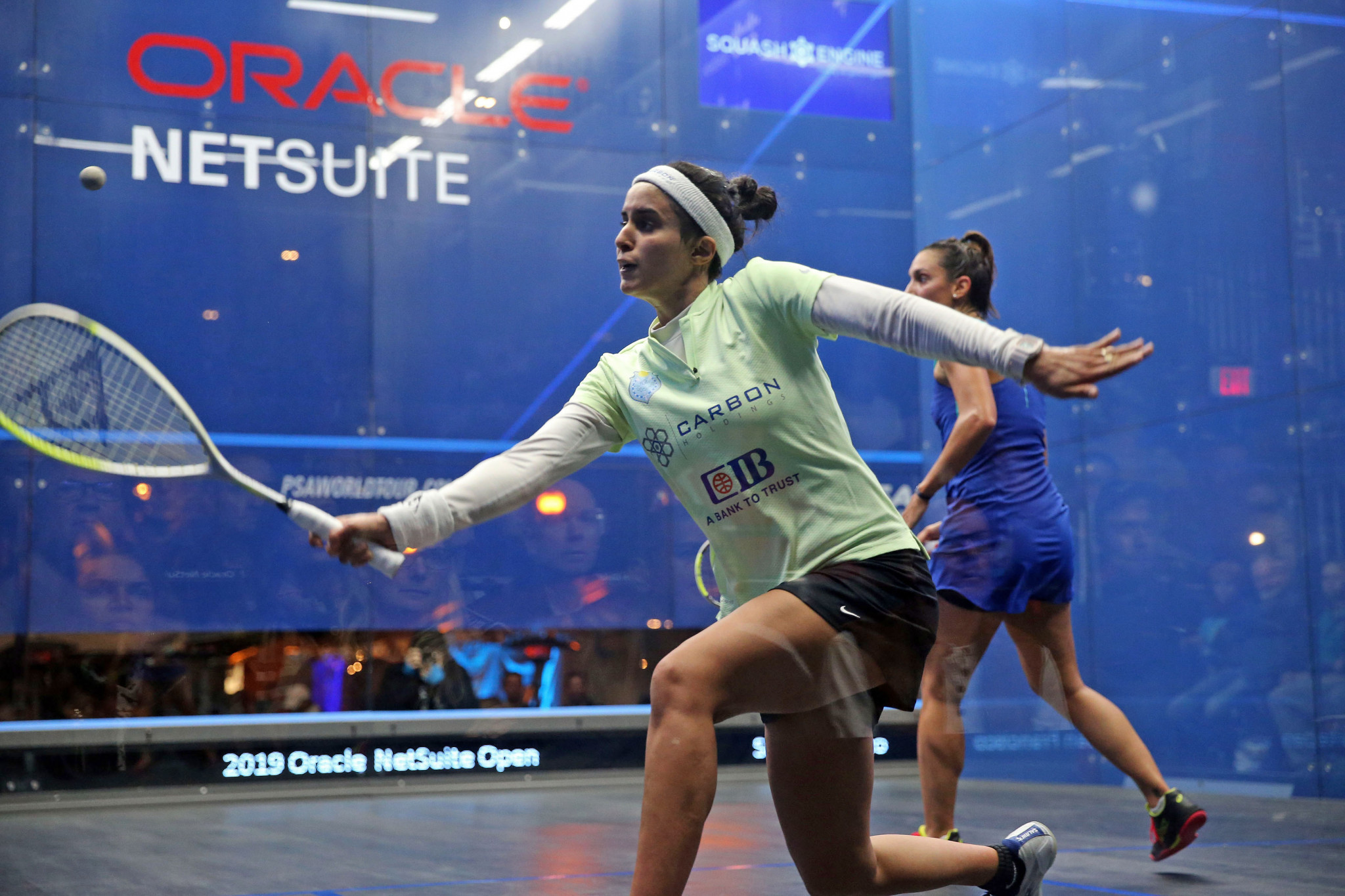 In the women's draw, world number five Nour El Tayeb defeated third ranked Camille Serme in three games ©PSA