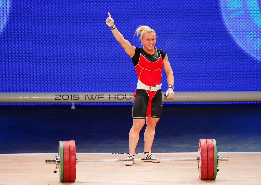 Azerbaijan's Boyanka Minkova Kostova broke the women's 58 kilogram snatch and overall world records on her way to securing a hat-trick of gold medals at the International Weightlifting Federation World Championships ©Getty Images