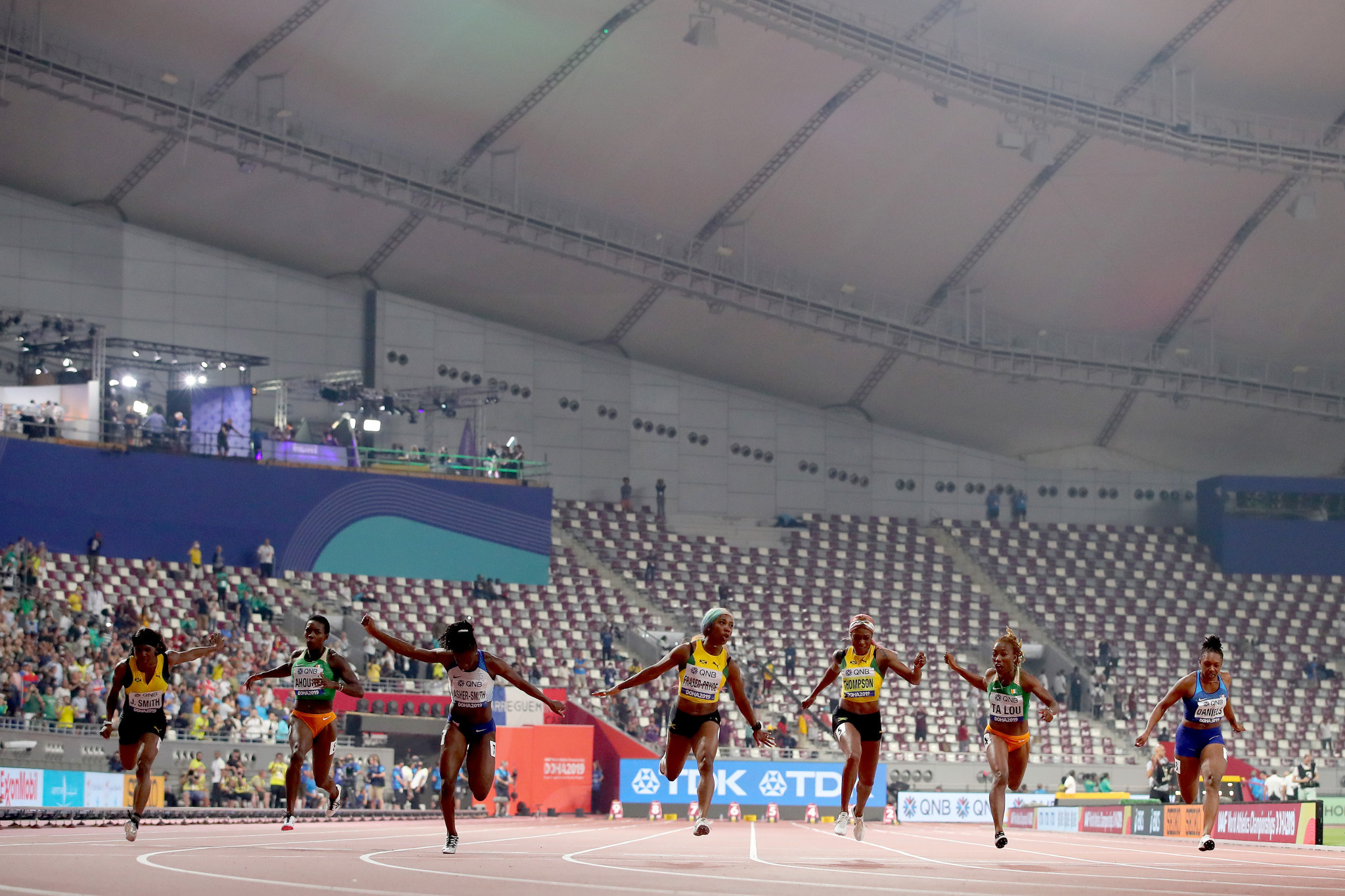 The final of the women's 100m, won by Jamaica's Shelly-Ann Fraser-Pryce, took place in an almost empty Khalifa International Stadium with the majority of the already small crowd have departed a long time before the started ©Getty Images
