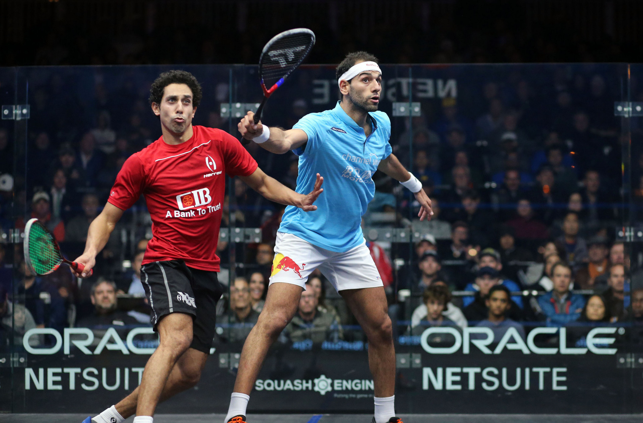 World number one Mohamed ElShorbagy won a second Oracle Netsuite Open title in San Francisco ©PSA