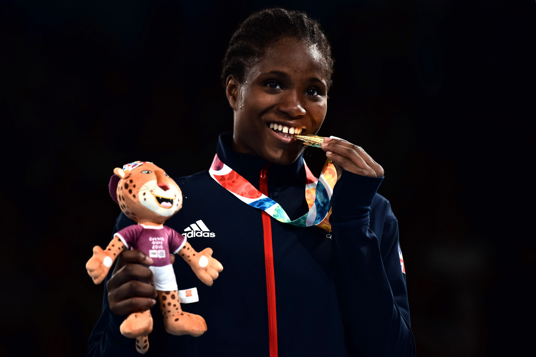 Caroline Dubois celebrates Youth Olympic gold in Buenos Aires last year ©Getty Images