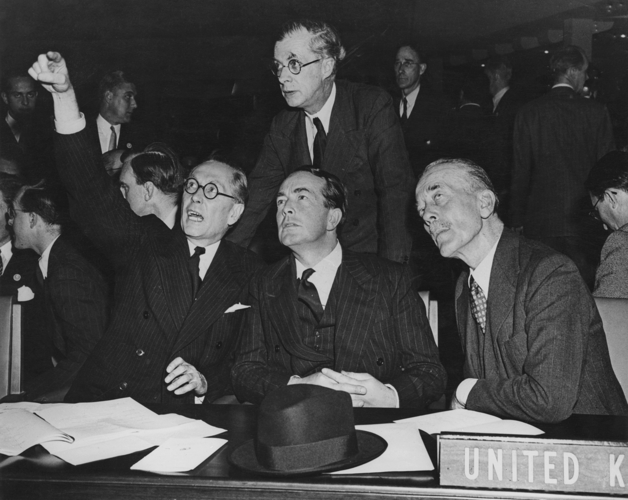 Philip Noel-Baker, left, at the United Nations General Assembly in New York City in 1946 ©Getty Images