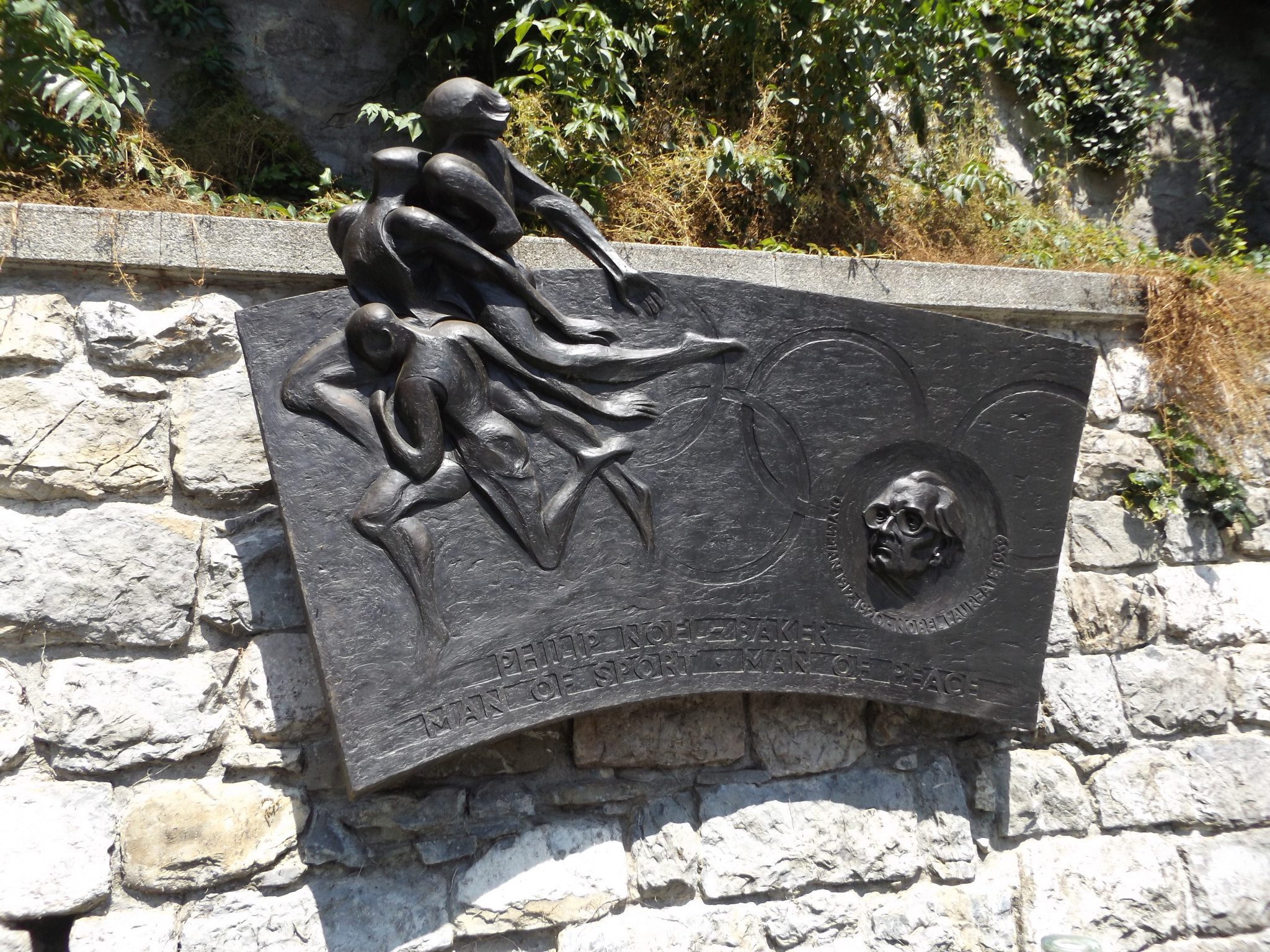 A plaque dedicated to Philip Noel-Baker in Olympic capital Lausanne ©ITG