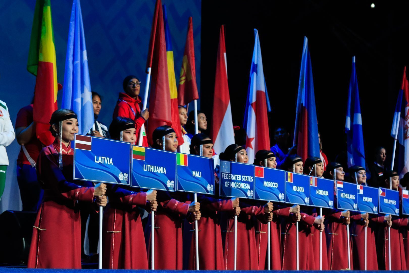A parade of the 57 nations competing took place ©AIBA