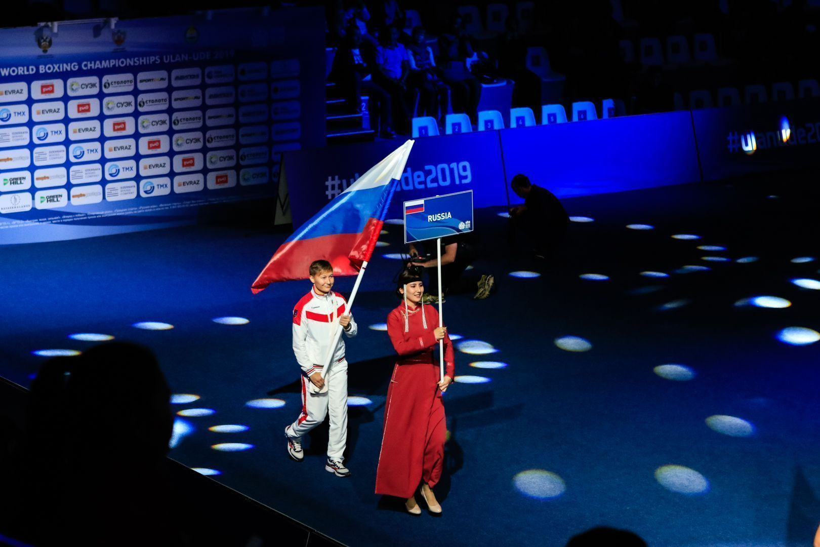 The Russian flag received rapturous applause from the home crowd ©AIBA