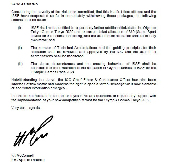 The IOC warned the ISSF in a letter sent earlier this week ©ITG
