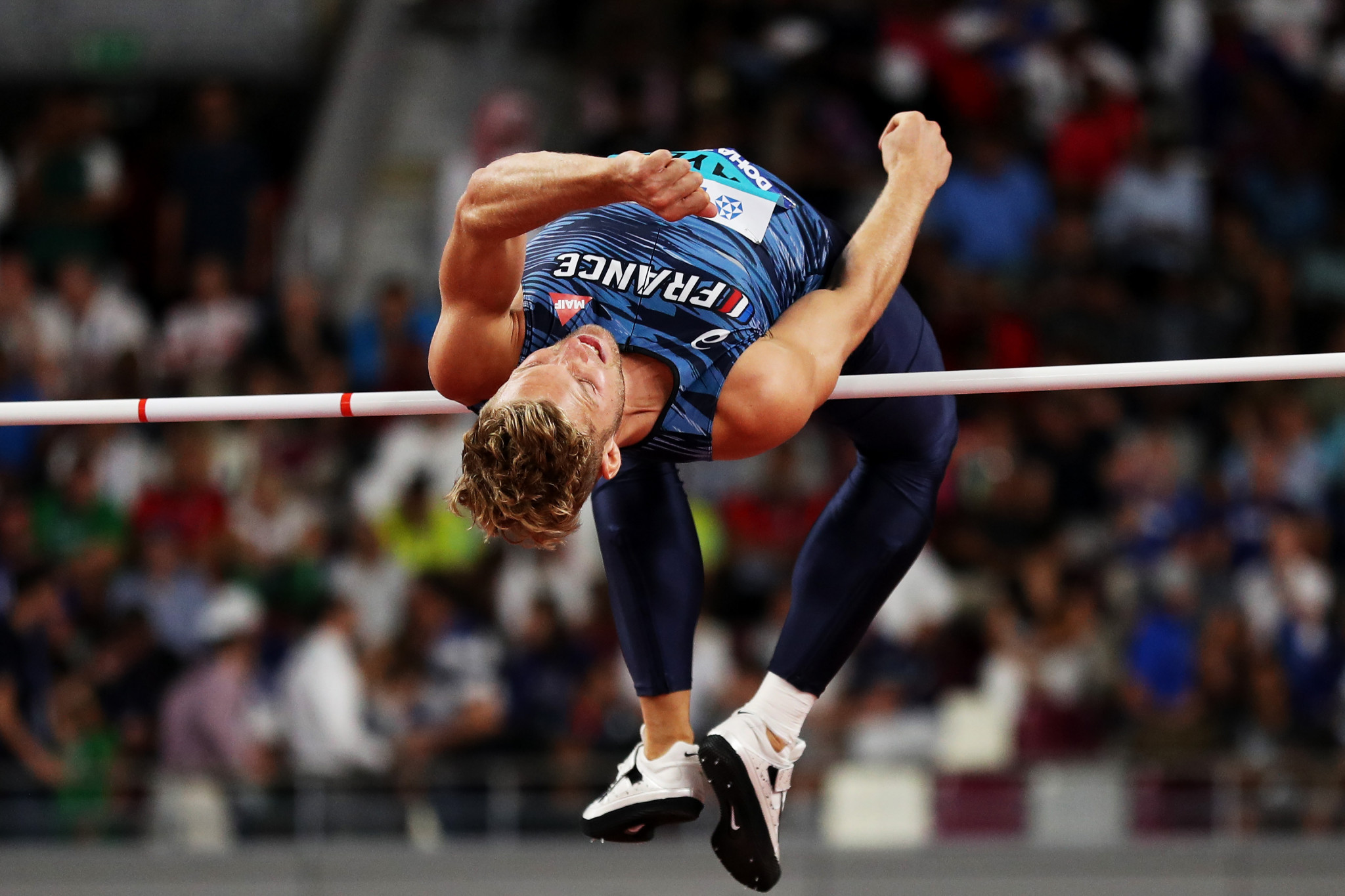 The favourite Kevin Mayer of France competes in the men's high jump on the first day of the decathlon ©Getty Images