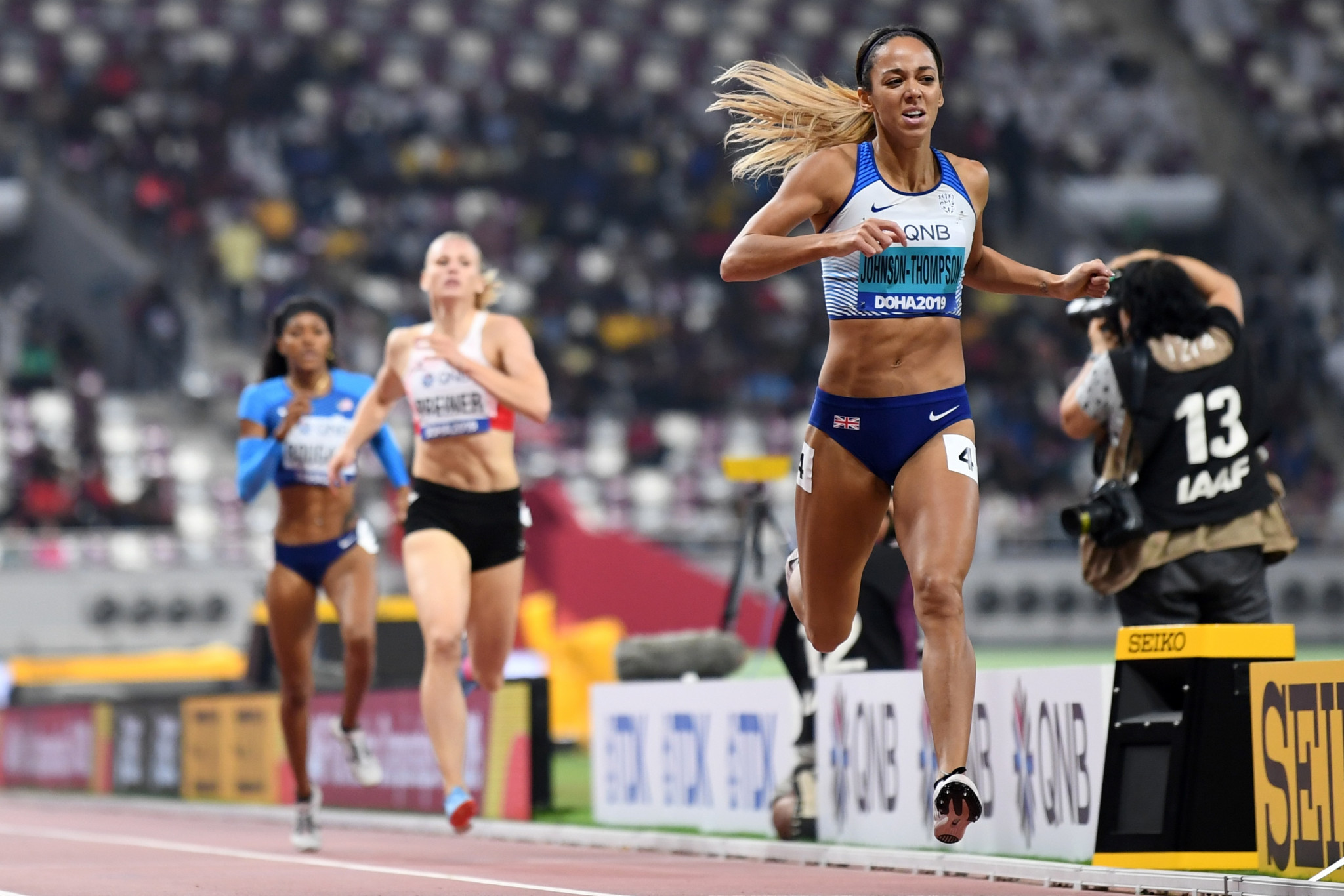 Britain's Katarina Johnson-Thompson crosses the line to win the heptathlon gold medal ©Getty Images