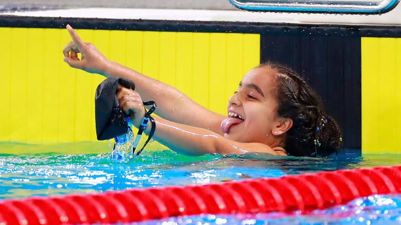 Swimmer Sara Vargas, 12, has won the APC Best Female Athlete award for August ©Lima 2019