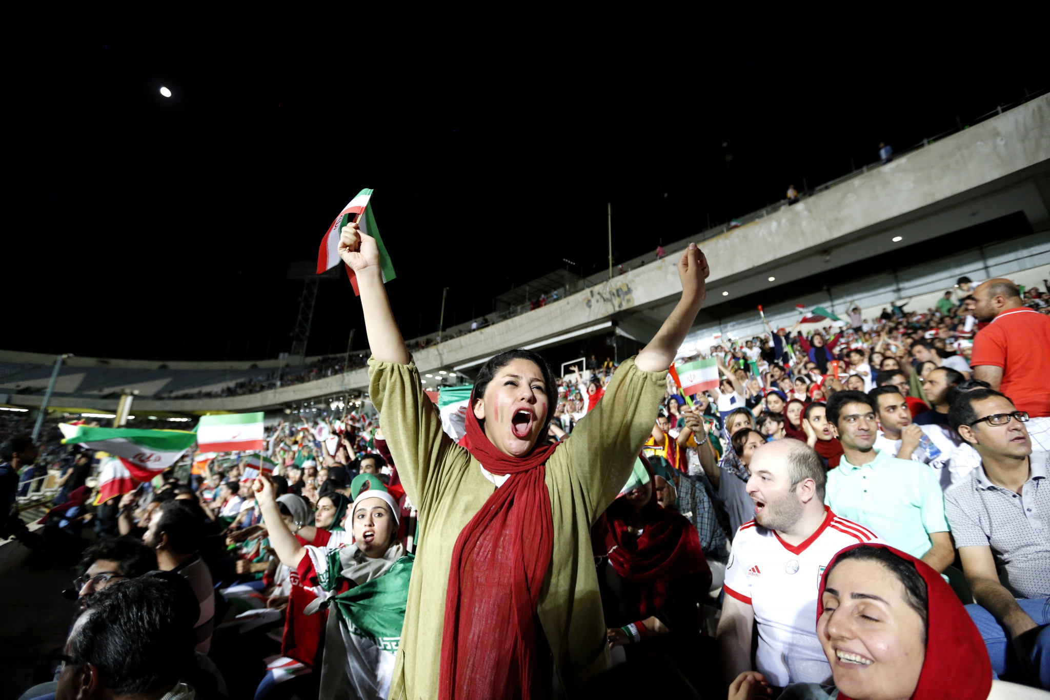 Iranian women were allowed into screenings of Iran's matches at the 2018 FIFA World Cup ©Getty Images