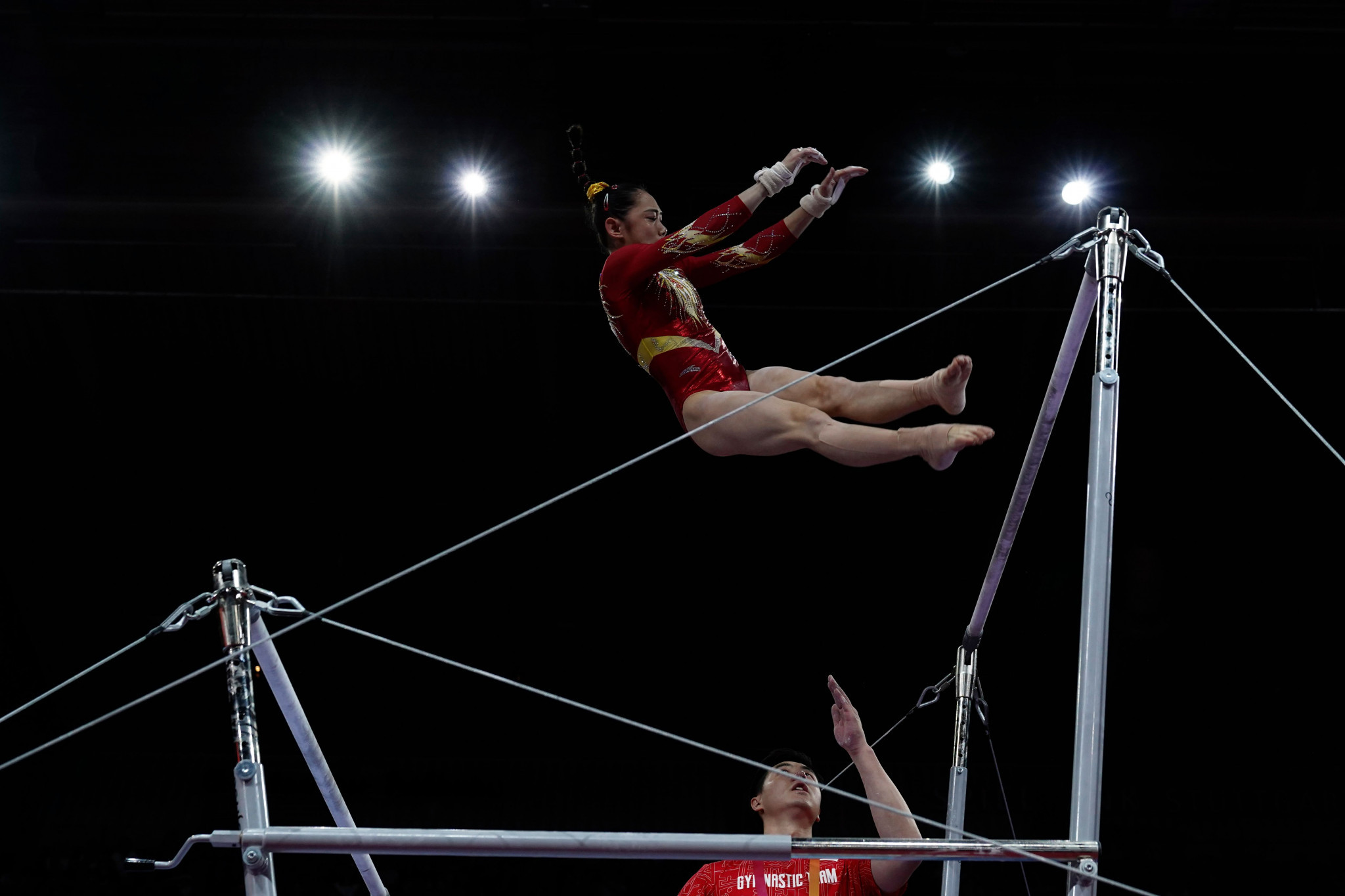 Liu Tingting of China is second at the halfway stage of all-around qualifying ©Getty Images